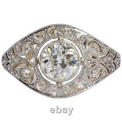 Art Déco Vintage 4.50ct Round Diamond 925 Sterling Silver Antique Wedding Ring