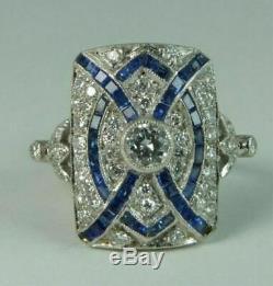 Art Déco Vintage Antique 1,25 Ct Diamant Rond Saphir Bague De Fiançailles De Mariage