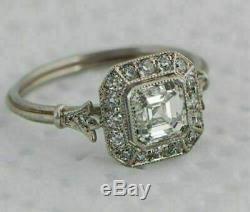 Art Déco Vintage Bague De Fiançailles 1,40 Ct Asscher Diamant En Or Blanc 14k Plus