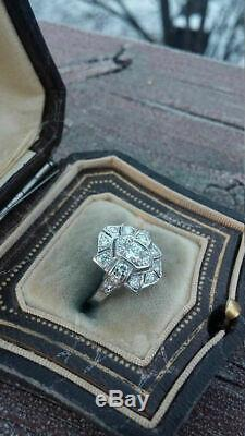 Art Déco Vintage Bague De Fiançailles De Mariage 1.5 Ct Diamant Bague En Or Blanc 14k Plus