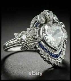 Art Déco Vintage Bague De Fiançailles De Mariage 2.1ct Coeur De Diamant En Or 14k Plus