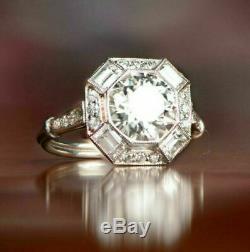Art Déco Vintage Bague De Fiançailles De Mariage 2.3ct Emerald Cut Diamant 14k Or Sur