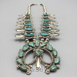 Attr. Dan Simplicio, Vintage Turquoise Et Argent Sterling Squash Collier Fleur