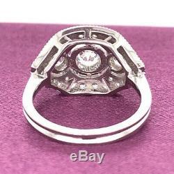 Bague Art Déco D'époque Édouardienne En Or 14k, Sertie De Diamants Blancs Et Ronds De 1 À 3 Ct D'époque 1925