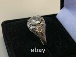 Bague Art Déco Vintage 14k Or Blanc Sur Engagement & Wedding Ring 2ct Diamond