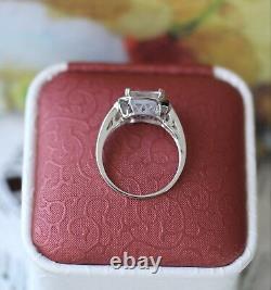 Bague Bijoux Art Déco Vintage Saphirs Blancs Antique Jewelry Size P