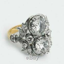 Bague De Fiançailles Antique Avec Diamants Taille Ronde, Diamants Antiques Art Déco De 3,20 Ct, 65