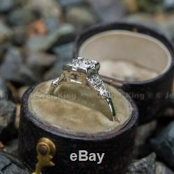 Bague De Fiançailles Antique Avec Diamants Taille Ronde Et Art Déco De 0,53 Ct, En Or 14k