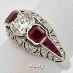 Bague De Fiançailles Antique Avec Diamants Vintage Art Déco, Rubis, 3,20 Ct, Taille Ronde