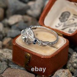 Bague De Fiançailles Antique Vintage Des Années 1920 1.9ct Round Diamond 14k Or Blanc Rempli