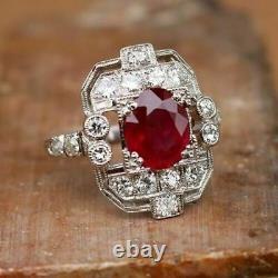 Bague De Fiançailles Art Déco 3.20ct Red Ruby - Diamond 925 Sterling Silver Vintage