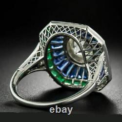 Bague De Fiançailles Art Déco Vintage 2.1 Ct Sapphire & Diamond 14k White Gold Over