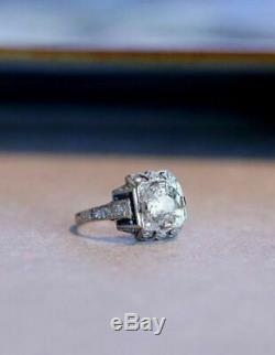 Bague De Fiançailles Art Déco Vintage Édouardienne Avec 2,05 Ct De Diamants, Or Blanc
