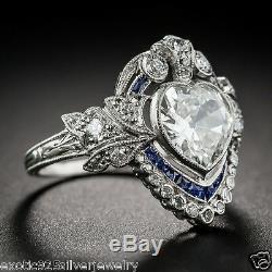 Bague De Fiançailles Avec Diamants Taille Coeur Vintage Art Déco 3.75 Ct En Argent Sterling 925