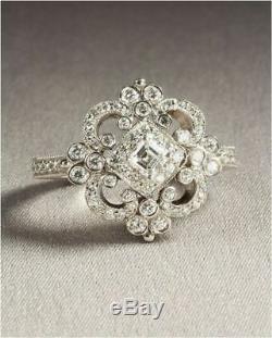Bague De Fiançailles De Mariage Antique Art Déco Vintage 14k Or Blanc Sur Argent 925