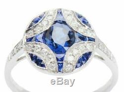 Bague De Fiançailles De Mariage Vintage Sapphire 2.3ct Diamant Rond En Or Blanc 14k Plus