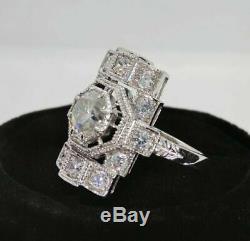 Bague De Fiançailles Edwardian Vintage Art Déco 2 Ct Diamant Or Blanc 14 Ct Plus De Bague