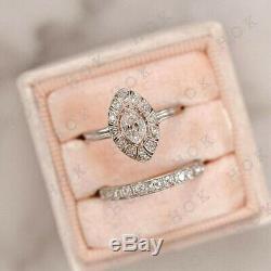 Bague De Fiançailles En Alliances Vintage Art Deco Avec Diamants De 1 Ct, Finition En Or Blanc 14k