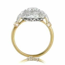Bague De Fiançailles En Or Blanc 14 K Avec Diamant D'époque Edwardian Vintage De 2 Ct