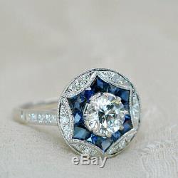 Bague De Fiançailles Pourpre À Diamants Pour Toujours Saphir Inspirée De 2,10 Ct En Or Blanc 14k