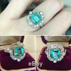 Bague De Fiançailles Rétro Vintage Halo Avec Diamants Taille Émeraude En Or Blanc 14k