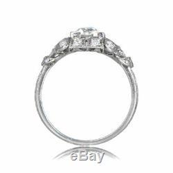 Bague De Fiançailles Saphir Vintage D'époque 1,9 Ct De Diamant Rond En Or Blanc 14k