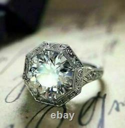 Bague De Fiançailles Victorienne Vintage 14k Or Blanc Sur Bague Diamant 2 Ct