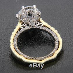 Bague De Fiançailles Vintage 2.20 Ctv Blanche Taillée En Diamant Blanc 14k À Deux Tons Doré