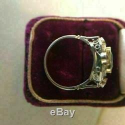 Bague De Fiançailles Vintage Art Deco 2.0ct Green Asscher Diamond 14k White Gold Over