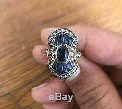 Bague De Fiançailles Vintage Art Déco 2 Ct Ovale Avec Saphir Et Diamant, Or Blanc 14k