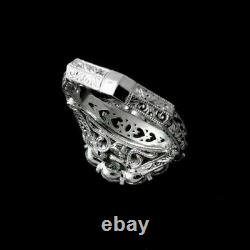 Bague De Fiançailles Vintage Art Deco Filigre Ring 3 Ct Diamond 14k Or Blanc Sur