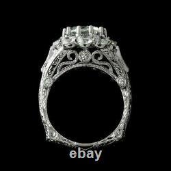 Bague De Fiançailles Vintage Art Déco Filigree Bague 14k Or Blanc Plus De 3 Ct Diamond
