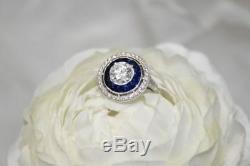 Bague De Fiançailles Vintage Avec Diamants Blancs Saphir Bleu Antique Art Déco