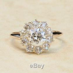 Bague De Fiançailles Vintage Avec Diamants Et Diamants, Taille Ronde Et Diamant De 1,35 Ct, Finition En Or Blanc 14k