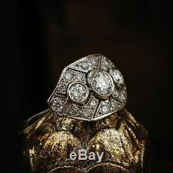 Bague De Fiançailles Vintage Avec Grappe De Diamants Ronds De Style Art Déco En Or Blanc 14k