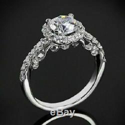 Bague De Fiançailles Vintage Avec Halo De Diamants, Taille Ronde, 2,50 Ct, Finition En Or Blanc 14k