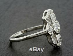Bague De Fiançailles Vintage De Plus De 1895 Art Déco 1.35ct Lunette Sertie De Diamants En Or Blanc 14k