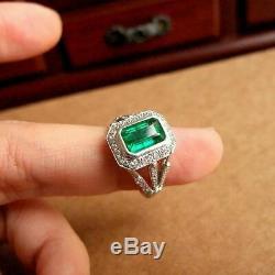 Bague De Fiançailles Vintage Or Blanc Plus Rétro 2,86 Ct Vert Émeraude Diamant