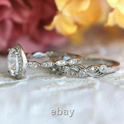 Bague De Mariage 2 Ct Diamond Halo Vintage Wedding Band Set 14k White Gold Over