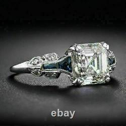 Bague De Mariage Art Déco Vintage Bague De Mariage 14k Or Blanc Over 3ct Asscher Diamond