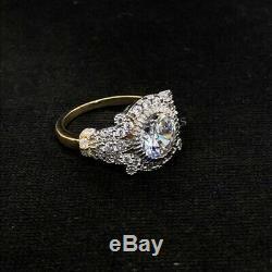 Bague De Mariage Art Déco Vintage En Or 14 Carats Edwardian Avec Un Diamant Blanc Rond De 1,55 Ct