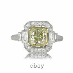 Bague De Mariage Art Déco Vintage Wedding Ring 2 Ct Yellow Diamond 14k White Gold Over