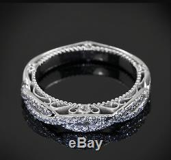Bague De Mariage D'époque En Or Blanc De 14 Carats Sur Diamant Rond Taillé En Diamant De 0,35 Ct