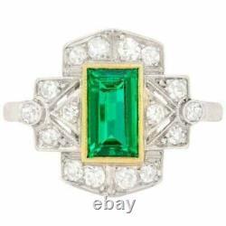 Bague De Mariage De Fiançailles Vintage Art Déco 2ct Emerald Diamond 14k Or Blanc Plus