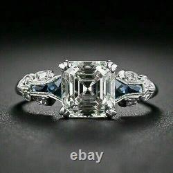 Bague De Mariage Vintage Art Déco Engagement 925 Sterling Silver 3ct Asscher Diamond