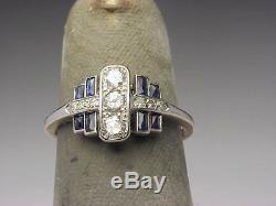 Bague En Argent 925 Avec 925 Diamants Émeraude Art Déco Édouardienne, Diamants Bleus 2.85 Ct