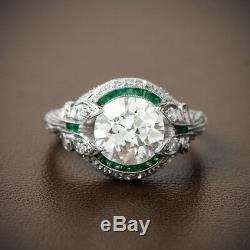 Bague En Argent 925 Avec Bague De Fiançailles En Diamant De Taille Ronde Vintage Art Déco 2.00ct