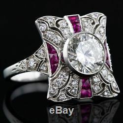 Bague En Argent 925 Sertie De Fiançailles Art Déco Vintage Avec Diamants Et Rubis Rouge De 2,00 Ct