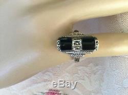 Bague En Argent Sterling Avec Bijoux Anciens Vintage Art Deco Marcasites Onyx Noir