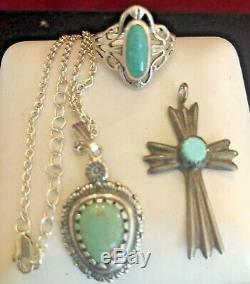 Bague En Argent Sterling Vintage Lot Carolyn Pollack Turquoise Cross